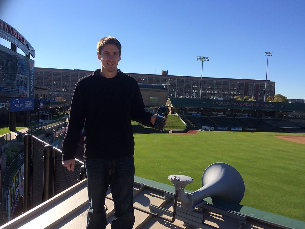 Alex Withorn removes solargraph from Four Winds Field in South Bend, IN