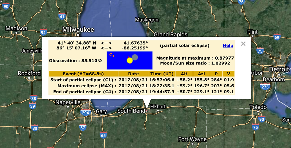 Ecllipse predictions for South Bend, IN, courtesy of Xavier Jubier's Interactive Google Map