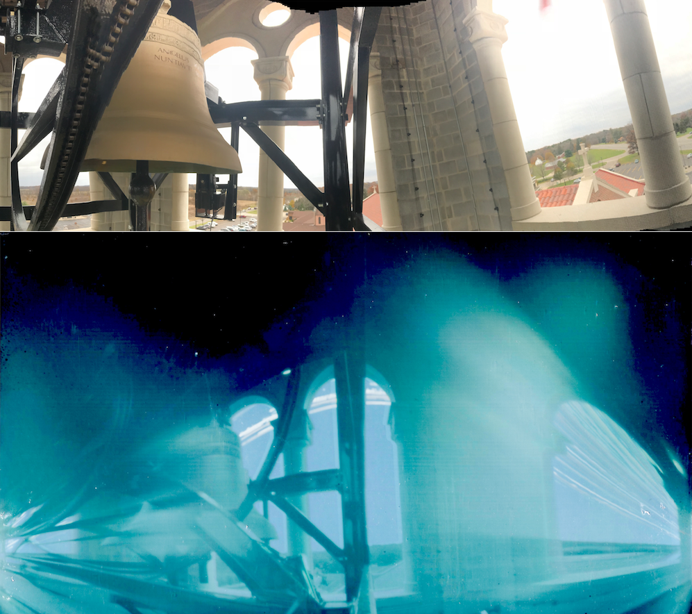 Panorama of SPX bell tower, above, with solargraph of comparable perspective, below.