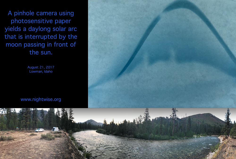 Sunprint® image of solar eclipse matched with panorama of same scene.