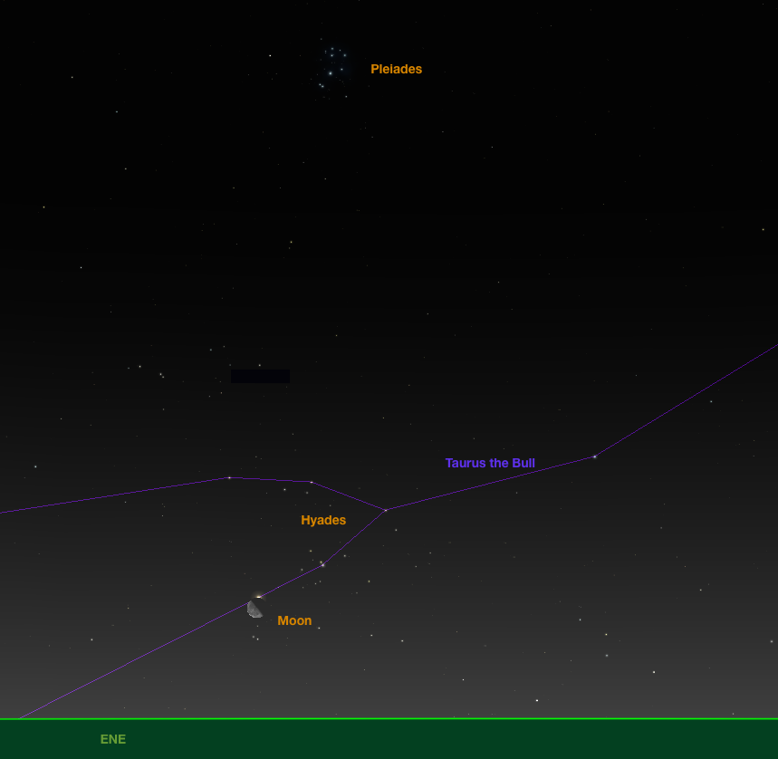 "Aldebaran reappears from behind the moon.  Pleiades are above the ""V"" of Hyades."