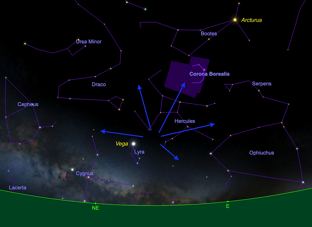 Meteors radiating outward from Lyra, shown after midnight on the start of April 22, 2020.