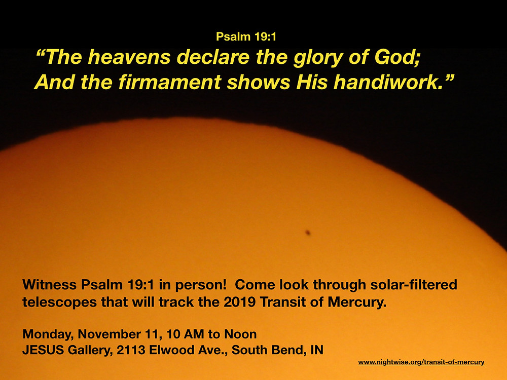 Witness Psalm 19:1 during Transit of Mercury
