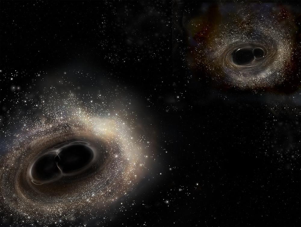 Collision of black holes; artist depiction courtesy of LIGO.