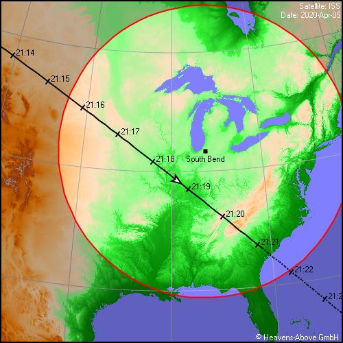 Ground track of ISS flyby March 2020; image courtesy of Chris Peat & Heavens-Above.com
