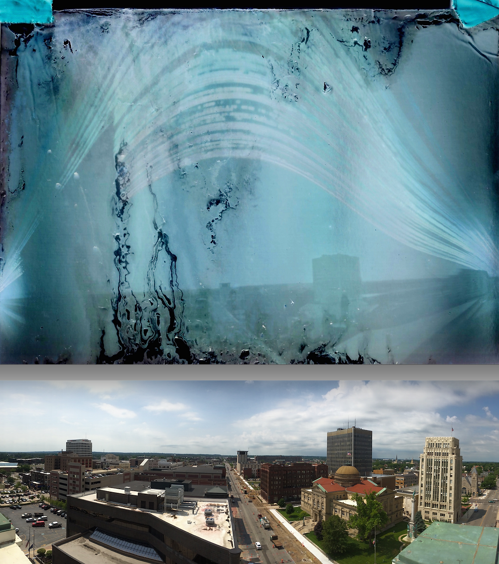Solargraph shows arc of sun July-October with Main Street panorama.