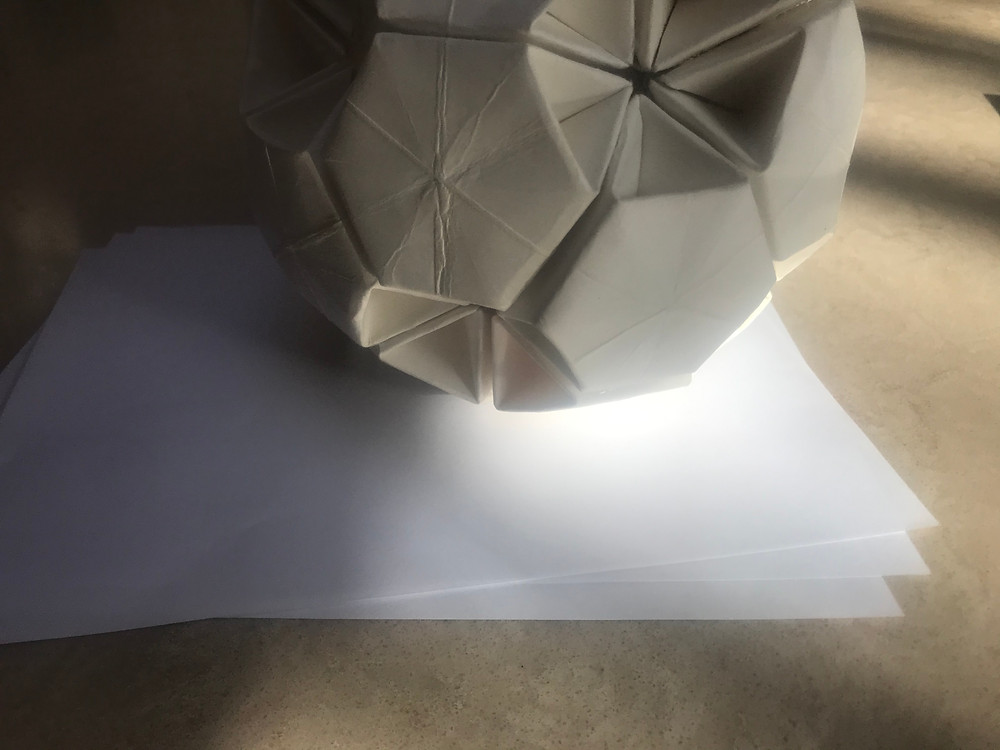 Model of earth with three sheets of paper for atmosphere to scale.
