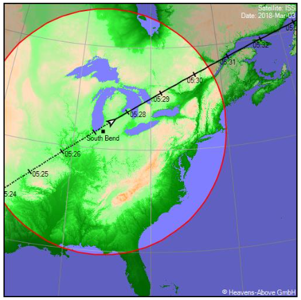 ISS Ground Track for March 2, 2018; courtesy of Chris Peat.