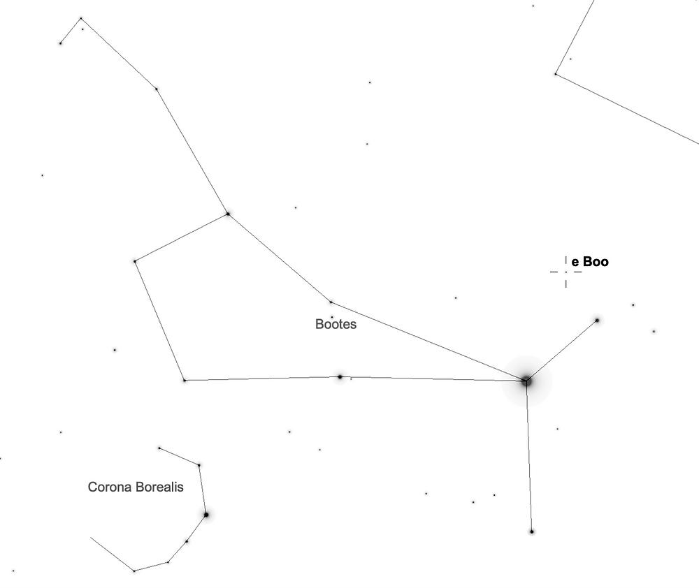 Constellations Corona Borealis and Bootes with star e Boo at mag=4.9