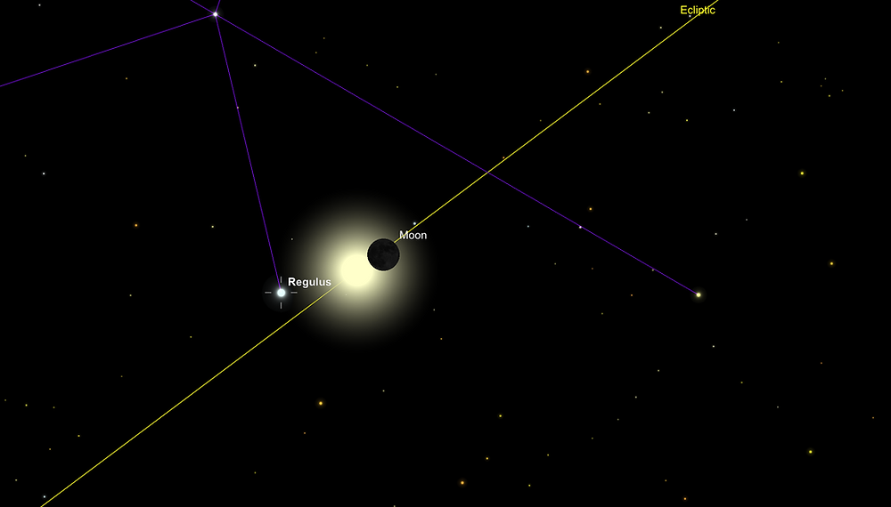 The star Regulus near the sun during the 2017 solar eclipse.