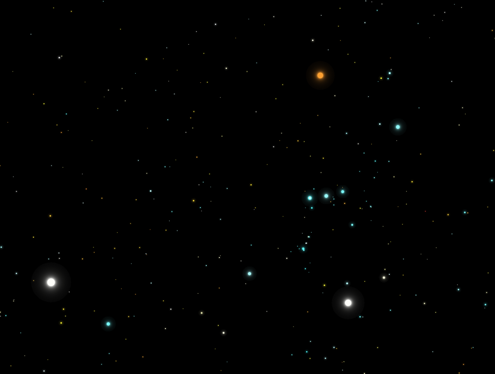 Starfield with the constellation Orion and the star Sirius