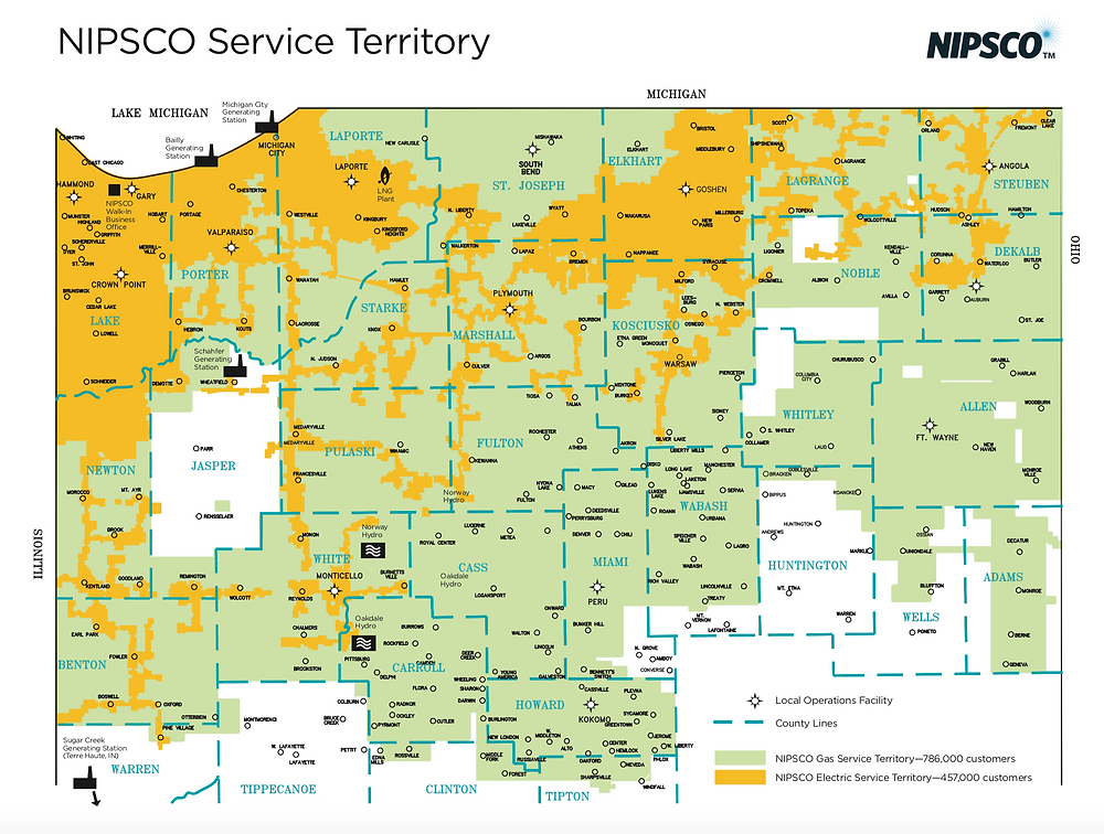 Map of NIPSCO territory.  Orange is electric service, which may include streetlights. https://www.nipsco.com/docs/default-source/about-nipsco-docs/serviceterritorymap-sept-2011.pdf