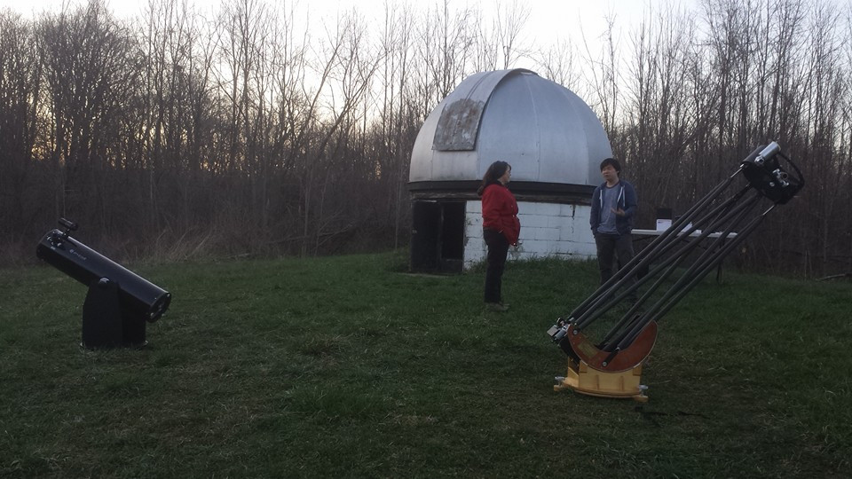 A 10-inch reflector telescope and 12-inch Fahey telescope set up beside the dome of Andrews University Observatory. Image courtesy of Matt Bielski.