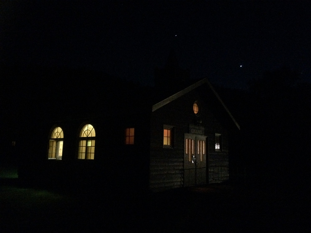 Brighter Venus and Jupiter get nearer.  Seen here above chapel at Custer State Park, SD.