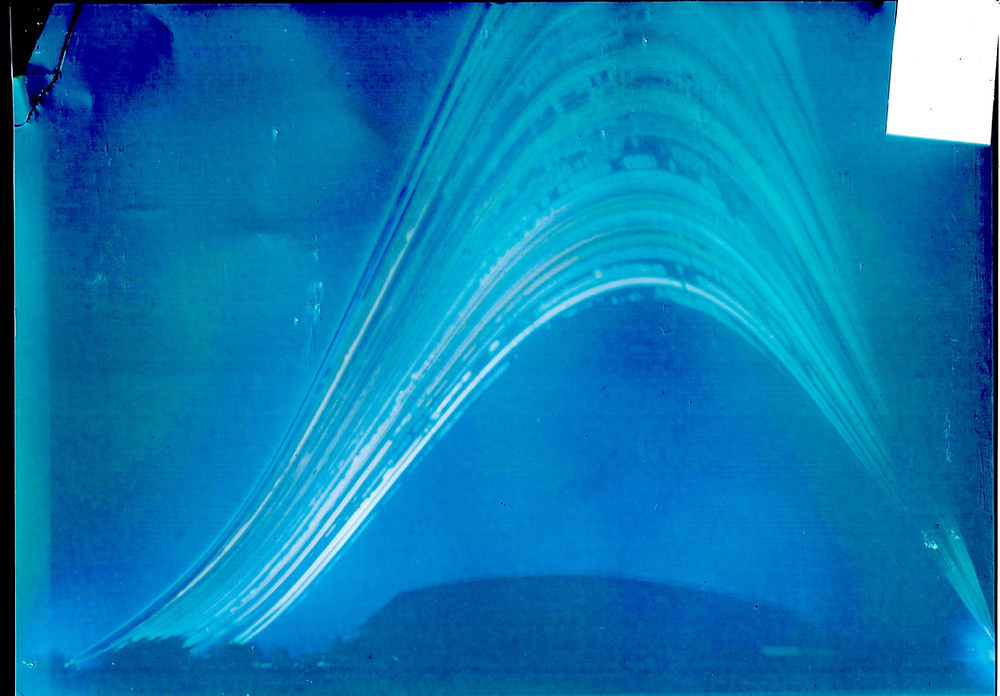 Solargraph shows path of sun above St. Pius X pole barn.