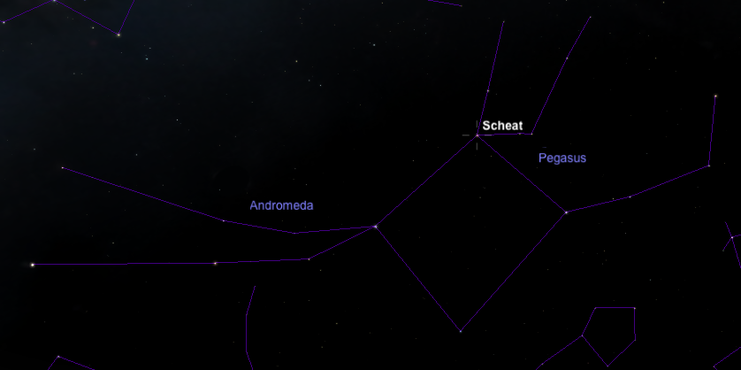 The star Scheat in the constellation Pegasus.