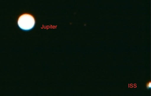 Jupiter and ISS with labels