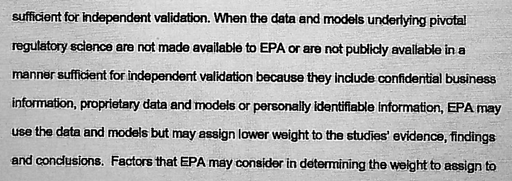 Proposed EPA rule demans confidential info for study to have rulemaking weight.