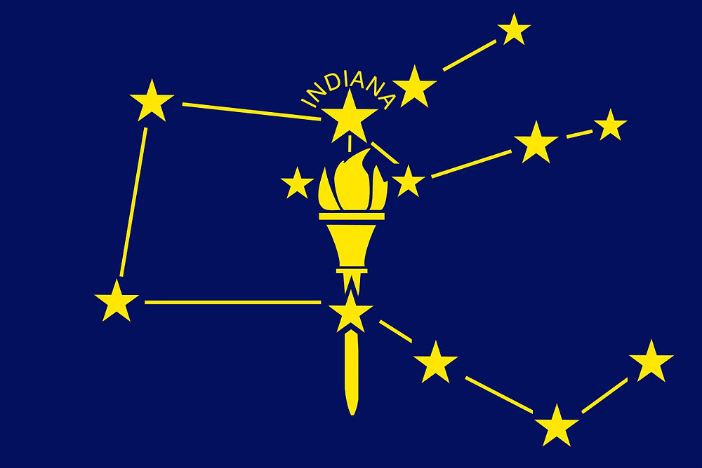 Banner depicts Indiana's Bicentennial Star atop torch