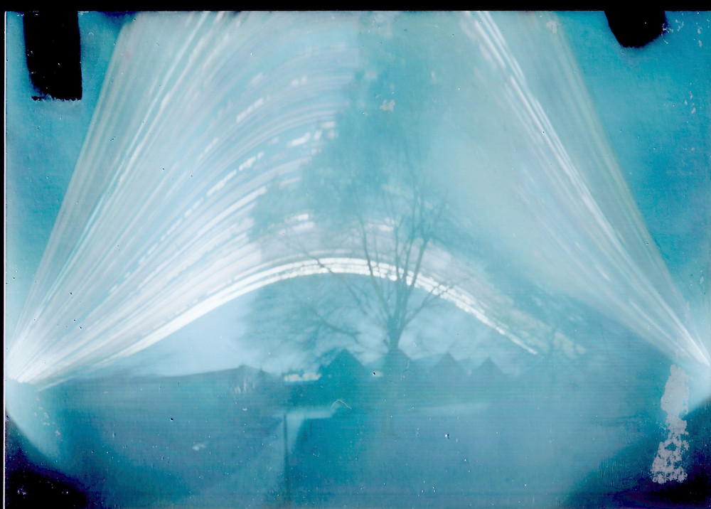 Six-month solargraph image looking over the History Museum in South Bend, IN.