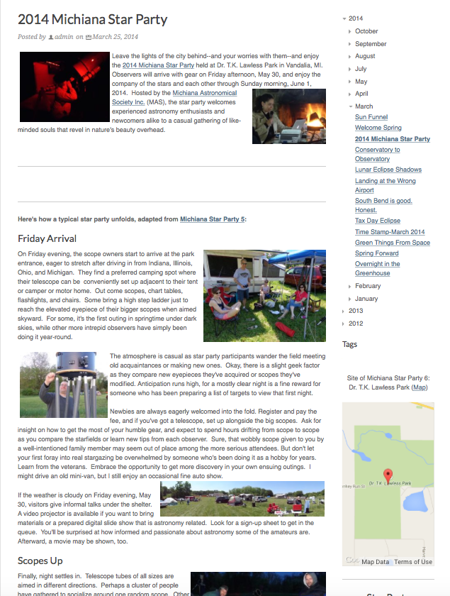 Nightwise.org : 2014 Michiana Star Party.png
