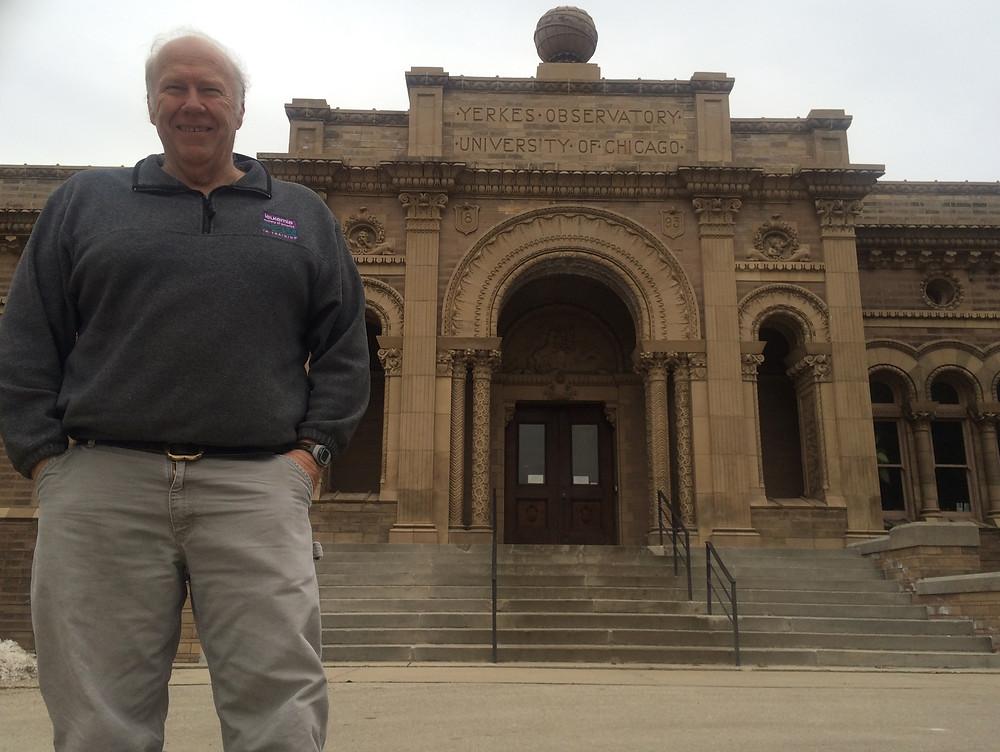 Chuck Rupley at entrance of Yerkes Observatory