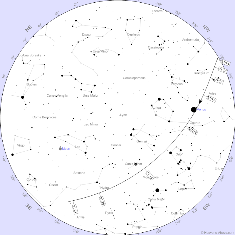 Star chart for ISS flyby March 2020; image courtesy of Chris Peat & Heavens-Above.com
