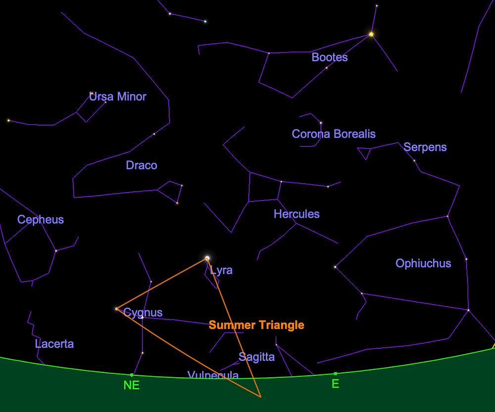 Summer Triangle rising on May 1 at midnight; Boötes high toward the east