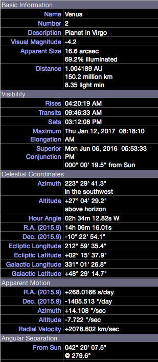 Venus details at start of occultation, as seen from South Bend, IN.