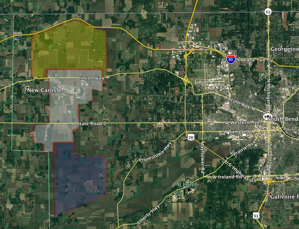 Proposed mega-development zones west of South Bend