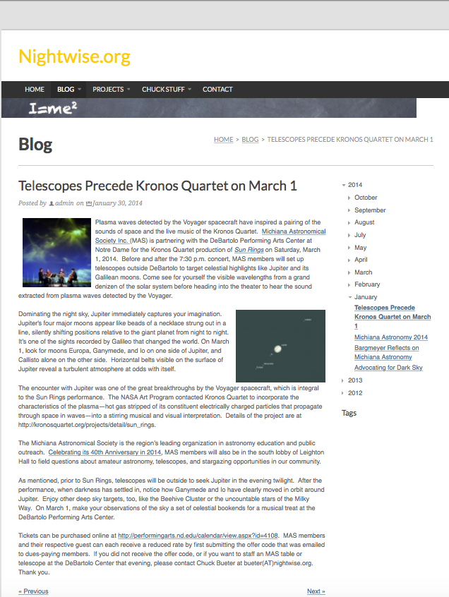 Nightwise.org : Telescopes Precede Kronos Quartet on March 1.png
