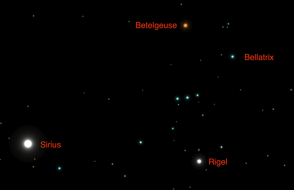 Stars of Orion and nearby bright star Sirius