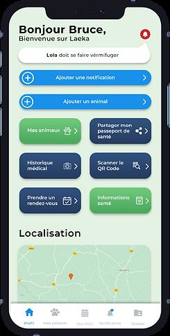 Image affichant un smartphone avec une capture d'écran du tableau de bord de l'application Laeka.