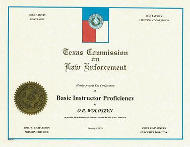 TCOLE INSTRUCTOR PROFICIENCY CERTIFICATE