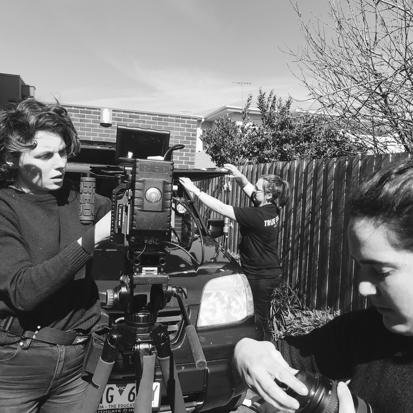 Lily Youngsmith (DOP) with Hannah Palmer (Gaffer/Camera Assistant) and Tensin Orlando (2nd Camera Assistant) on set.