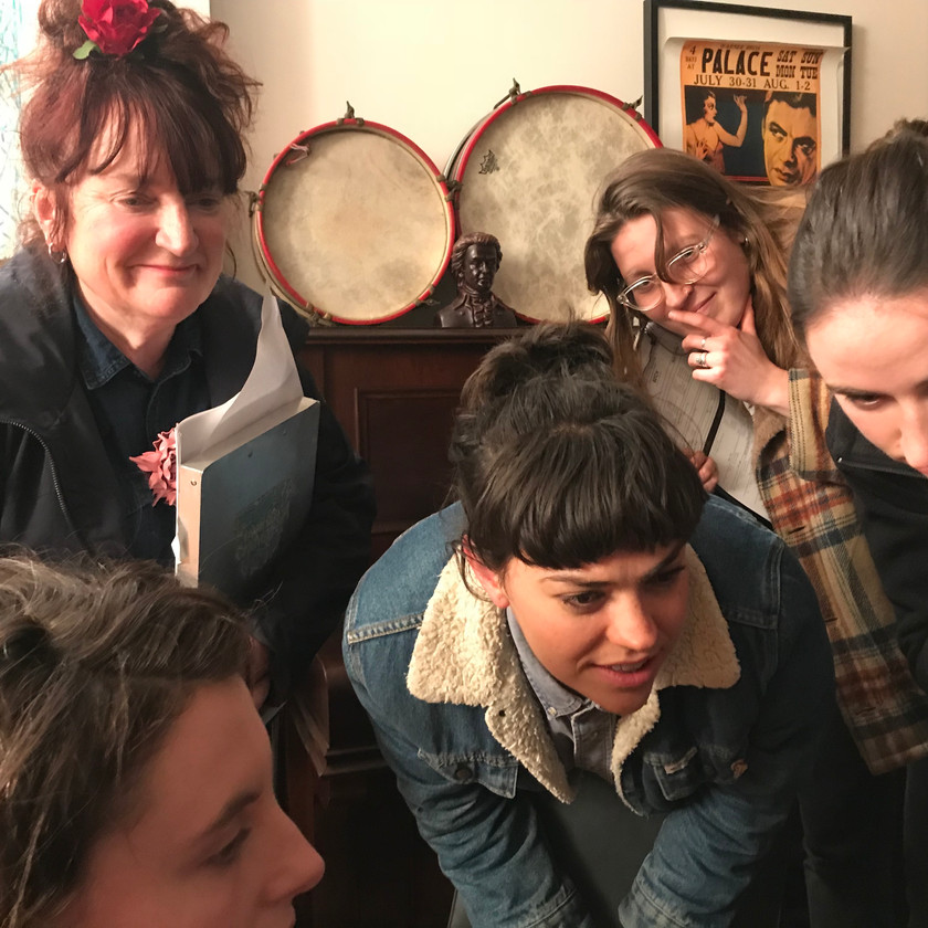 Annie Maver (1st AD) with Lily Youngsmith (DOP), Harry Lloyd (Director), Eliza Fawcett (Art and Costume Director) and Rose Damon (Continuity).
