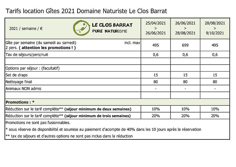 2021 FR Le Clos Barrat - Tarifs location