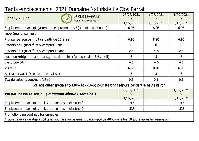 2021 FR Le Clos Barrat Tarifs emplacemen