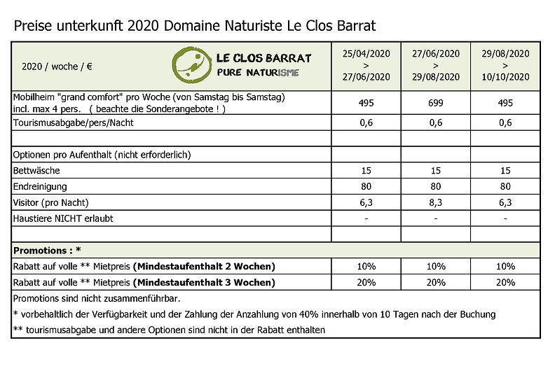 2020 DE Le Clos Barrat - Unterkunftsprei