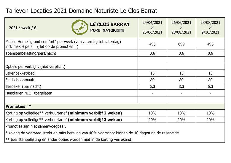 2021 NL Le Clos Barrat - Tarieven accomm