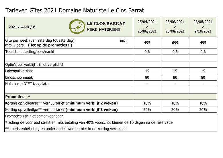 2021 NL Le Clos Barrat - Tarieven verhuu
