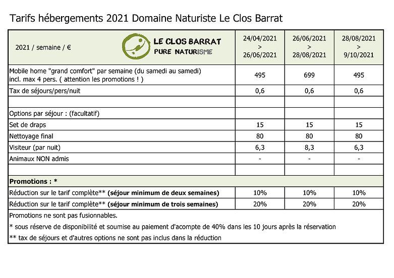 2021 FR Le Clos Barrat - Tarifs hébergem
