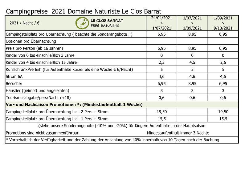2021 DE Le Clos Barrat - Campingpreise -