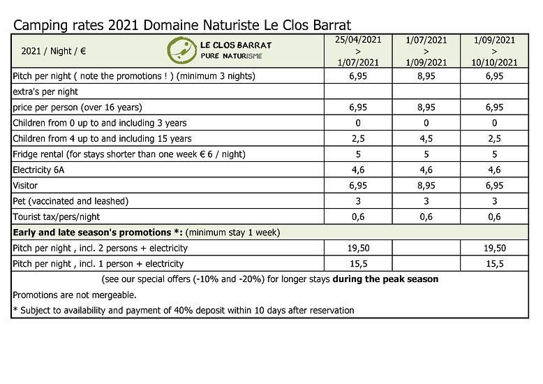 2021 UK Le Clos Barrat - Rates camping p