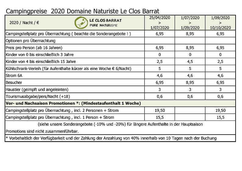 2020 DE Le Clos Barrat - Campingpreise -