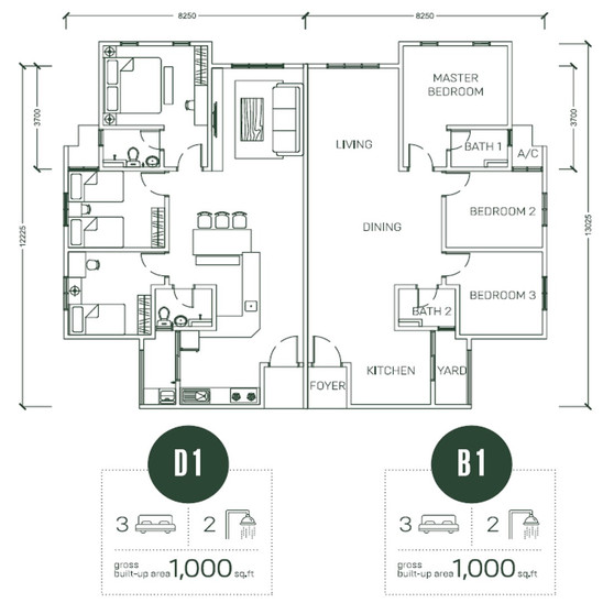Floor Plan Type D1 & B1