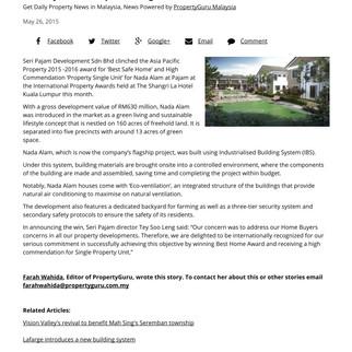 Seri Pajam Development bags Best Safe Home Award
