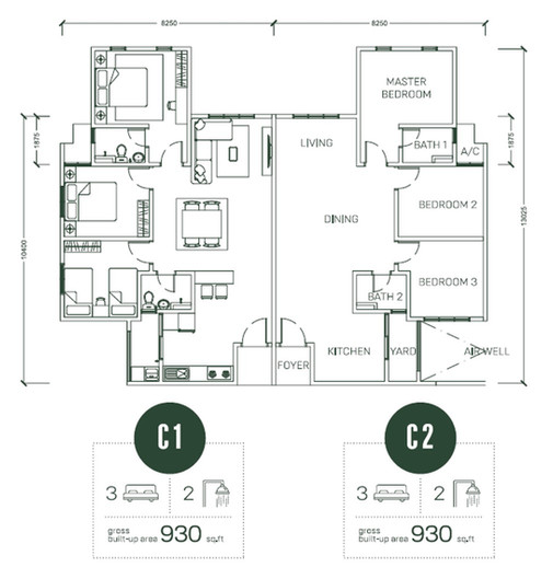 Floor Plan Type C1 & C2
