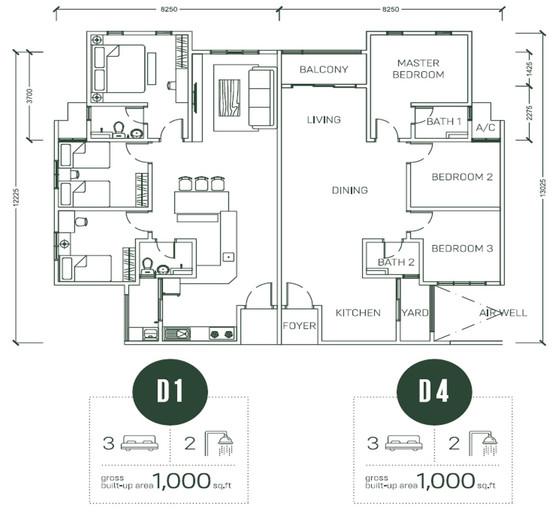 Floor Plan Type D1 & D4