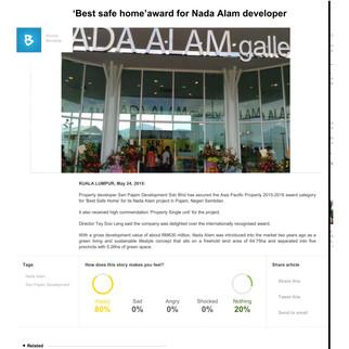 'Best safe home'award for Nada Alam developer